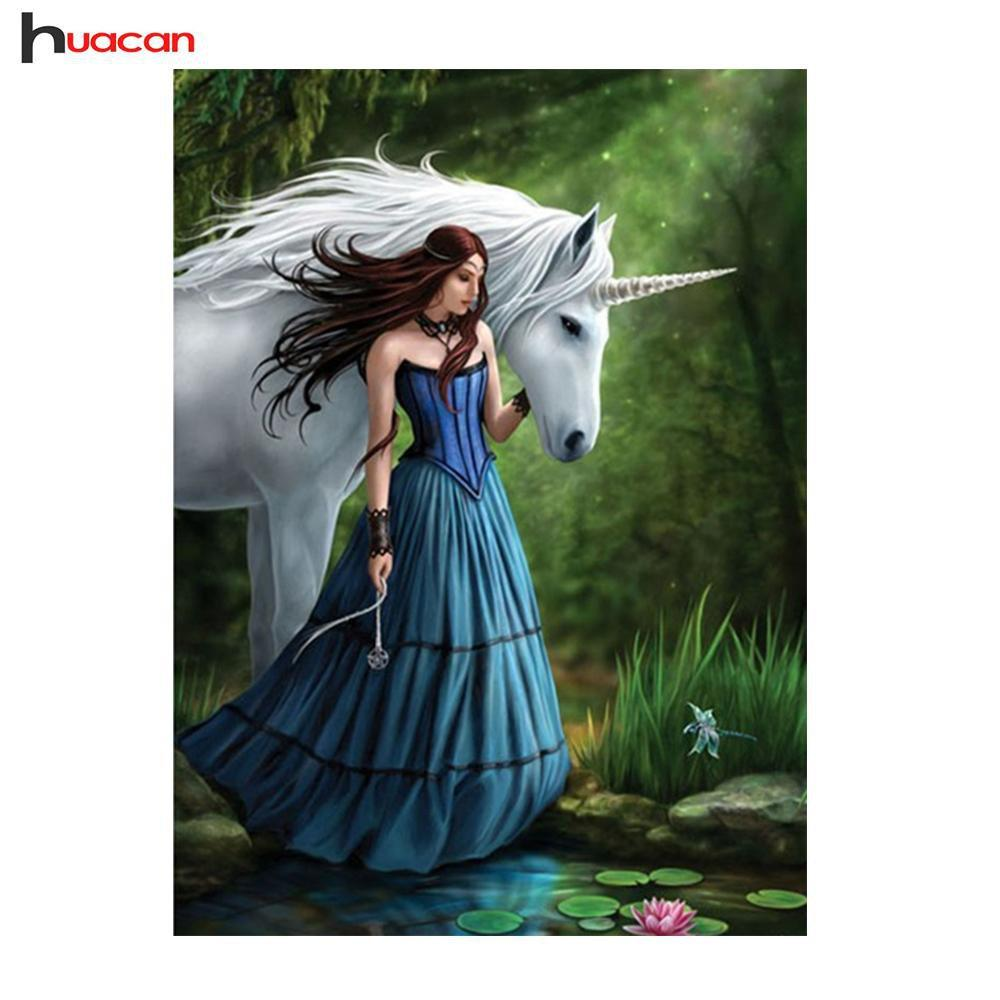 5D Diamond Painting Girl and the Unicorn Kit