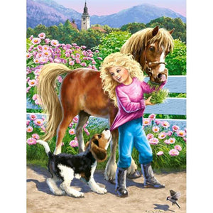 5D Diamond Painting Girl Feeding a Pony Kit