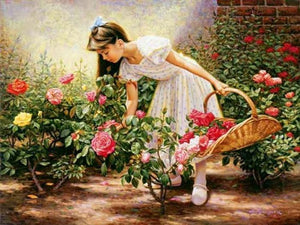5D Diamond Painting Girl Picking Roses Kit