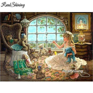 5D Diamond Painting Girl Playing with Teddy Bears Kit