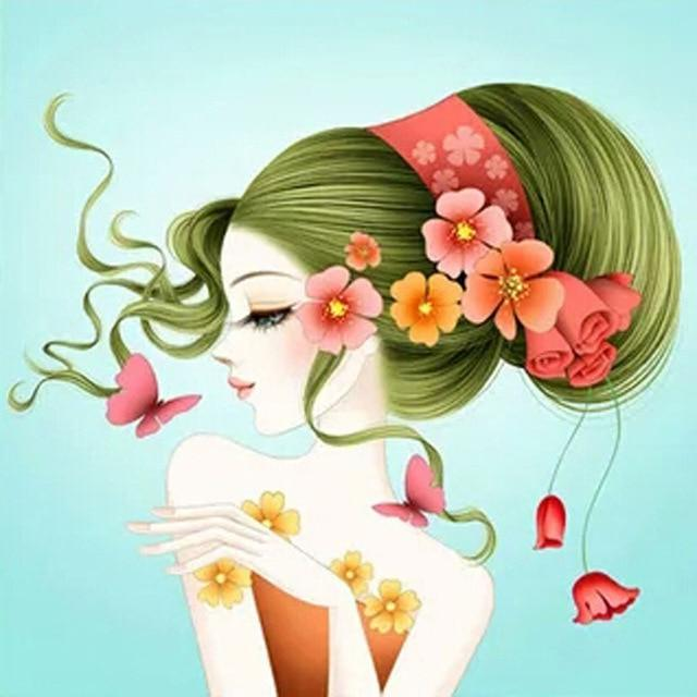5D Diamond Painting Girl with Flowers in her Hair Kit