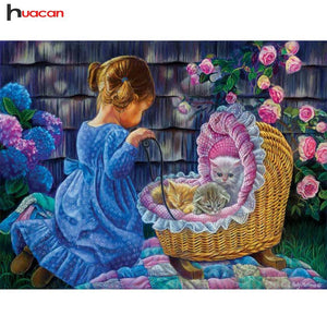5D Diamond Painting Girl with Kittens Kit