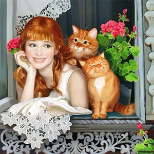 5D Diamond Painting Girl with Two Cats Kit