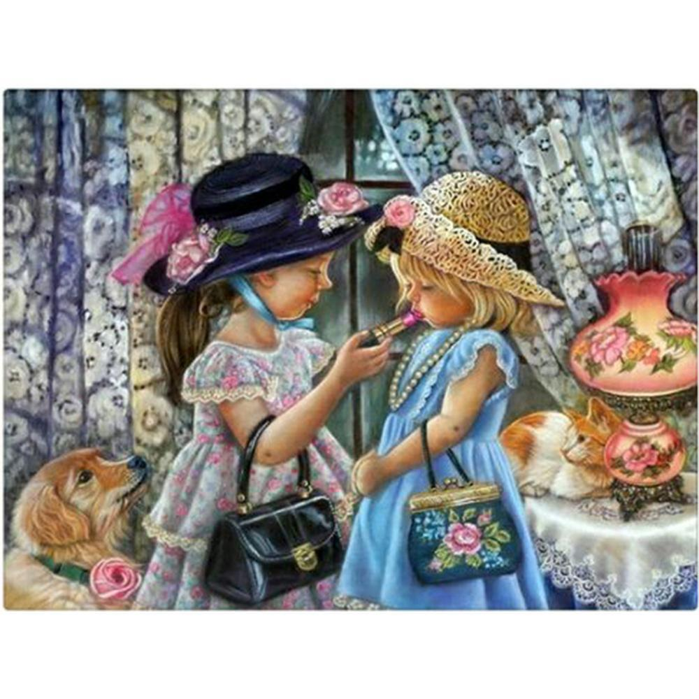 5D Diamond Painting Girls Dress Up Kit