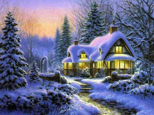 5D Diamond Painting Glowing Window Home in the Snow Kit