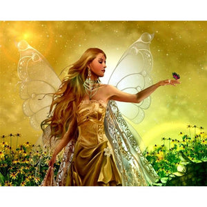 5D Diamond Painting Gold Fairy Butterfly Kit