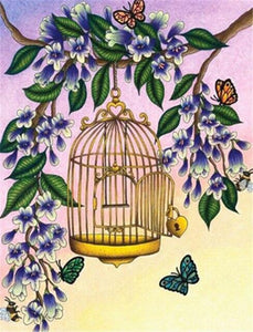 5D Diamond Painting Golden Bird Cage and Butterflies Kit