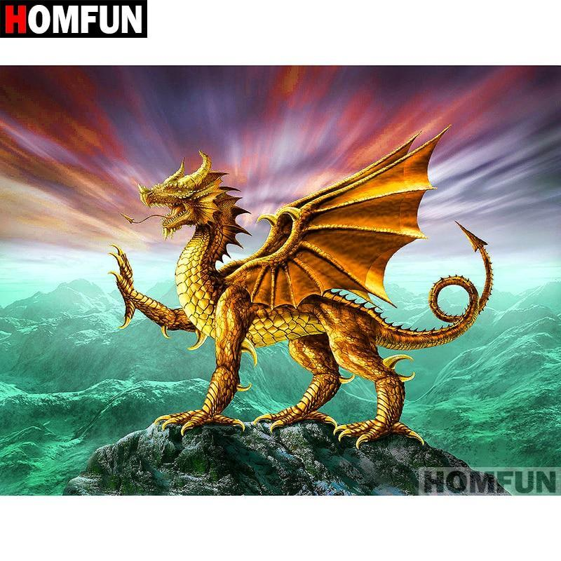 5D Diamond Painting Golden Dragon Kit