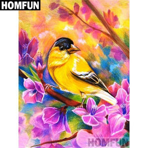5D Diamond Painting Golden Finch and Pink Blossoms Kit