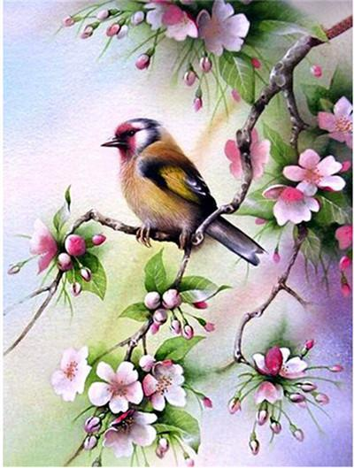 5D Diamond Painting GoldFinch Bird with Blossoms Kit
