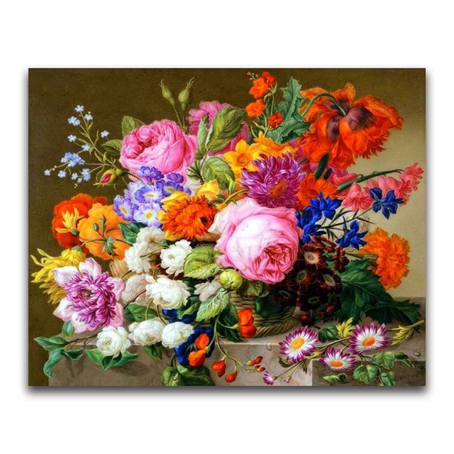5D Diamond Painting Granite Slab Flower Arrangement Kit