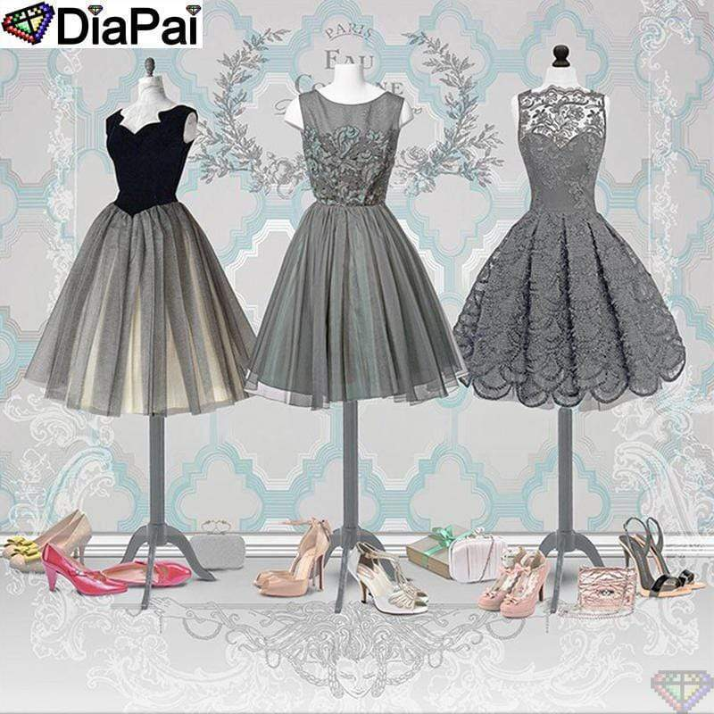 5D Diamond Painting Gray Dresses and Shoes Kit
