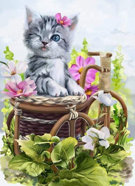 5D Diamond Painting Gray Kitten Wink Kit
