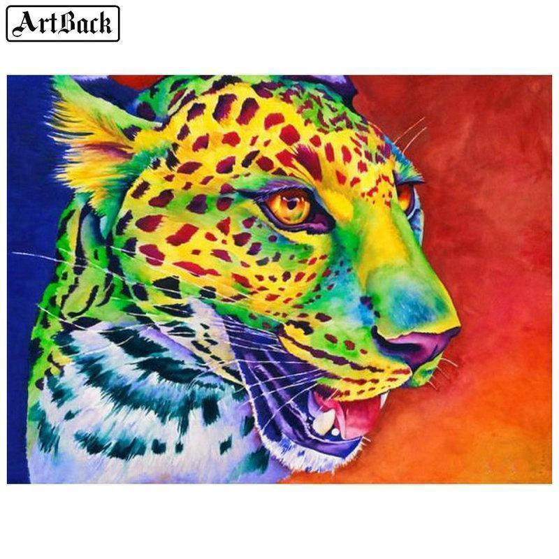5D Diamond Painting Green Abstract Leopard Kit