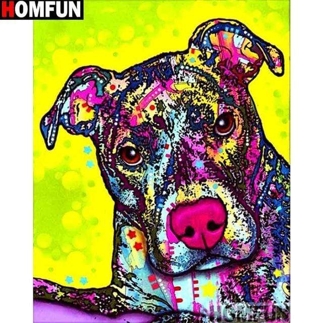 5D Diamond Painting Green Background Abstract Pit Bull Kit