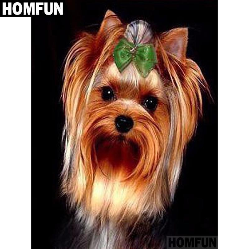 5D Diamond Painting Green Bow Yorkie Kit