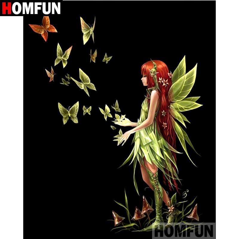5D Diamond Painting Green Butterfly Fairy Kit