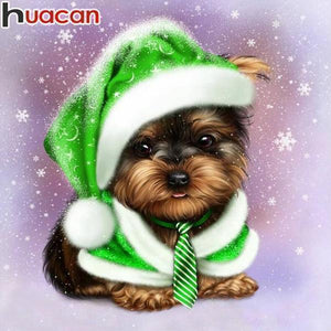 5D Diamond Painting Green Christmas Hat Puppy Kit