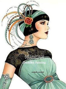 5D Diamond Painting Green Dress Flapper Kit