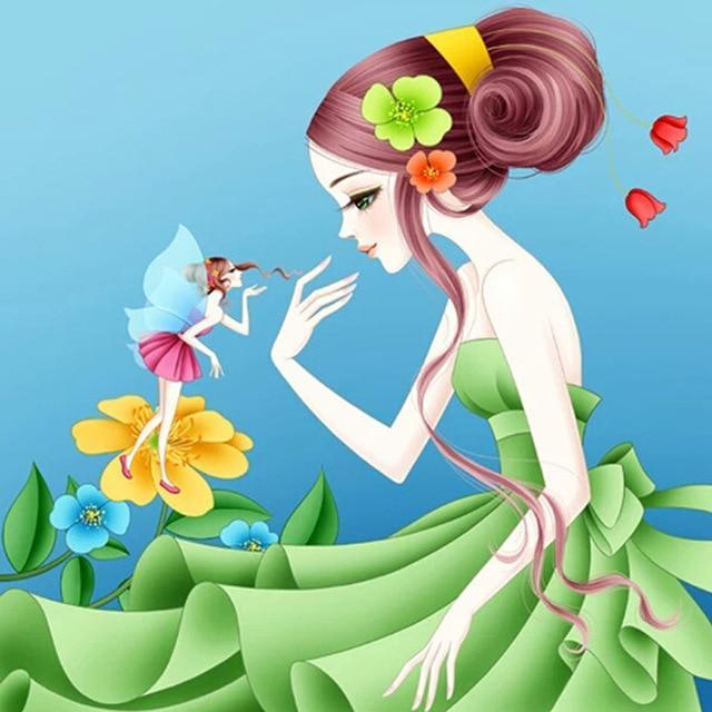 5D Diamond Painting Green Dress Girl and a Fairy Kit