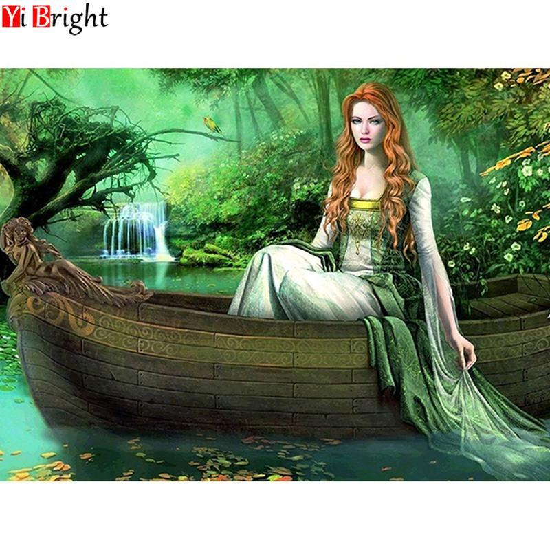 5D Diamond Painting Green Dress Princess on the Water Kit