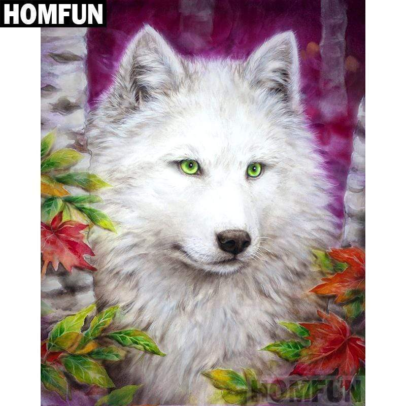 5D Diamond Painting Green Eye White Wolf Kit