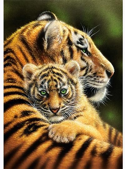 5D Diamond Painting Green Eyes Tiger Cub Kit
