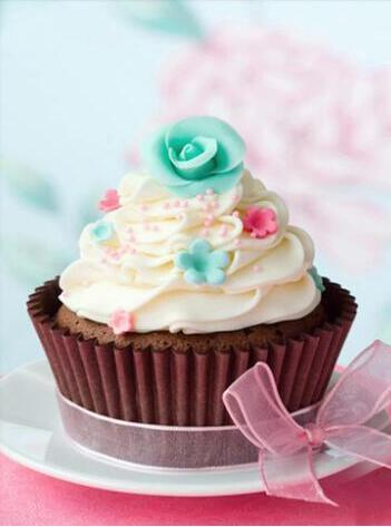 5D Diamond Painting Green Flower Cupcake Kit