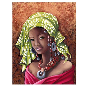 5D Diamond Painting Green Headscarf Woman Kit
