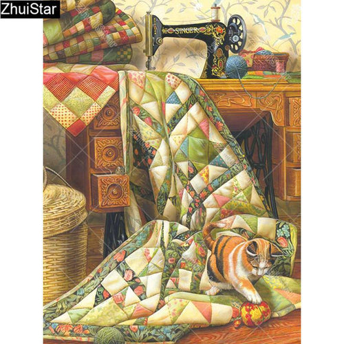 5D Diamond Painting Green Quilt and Striped Cat Kit
