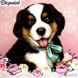 5D Diamond Painting Green Ribbon Puppy Kit
