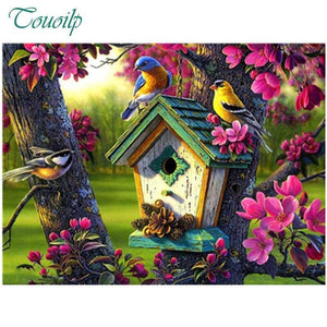 5D Diamond Painting Green Roof Bird House Kit