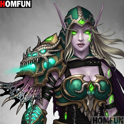5D Diamond Painting Green Space Warrior Woman Kit