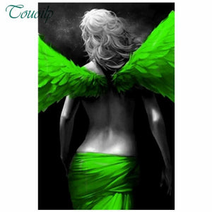5D Diamond Painting Green Wing Angel Kit