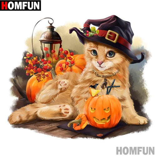 5D Diamond Painting Halloween Cat Kit