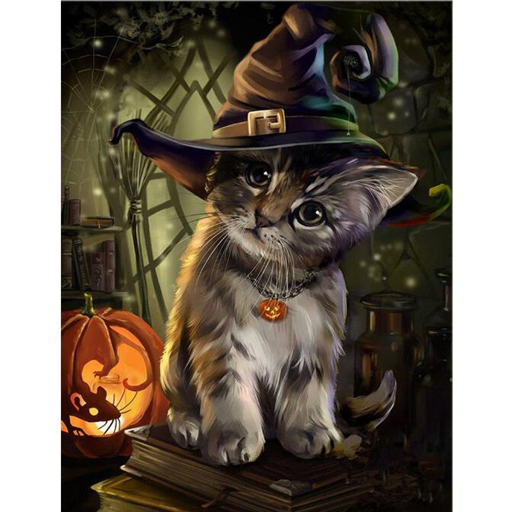 5D Diamond Painting Halloween Kitten Kit