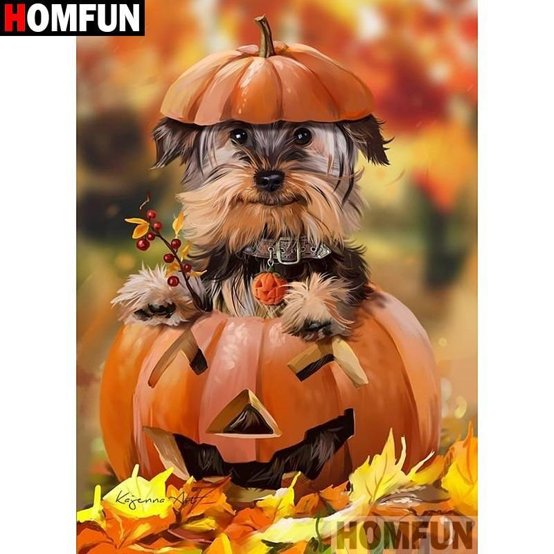 5D Diamond Painting Halloween Yorkie Kit