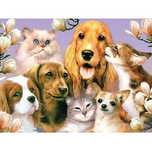 5D Diamond Painting Happy Dogs and Cats Kit