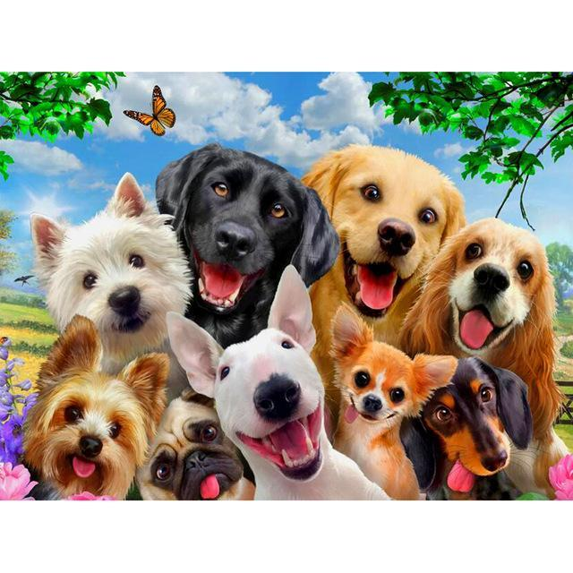 5D Diamond Painting Happy Dogs Kit