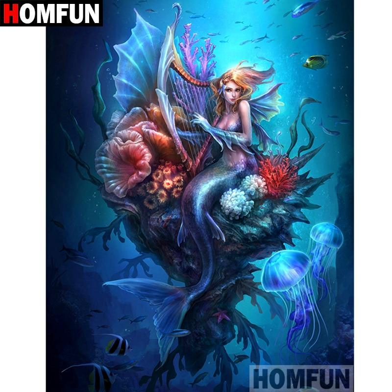 5D Diamond Painting Harp Playing Mermaid Kit