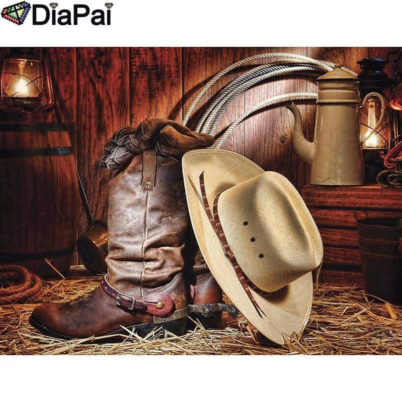5D Diamond Painting Hat and Cowboy Boots Kit