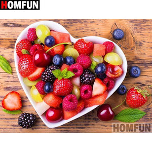 5D Diamond Painting Heart Bowl of Fruit Kit