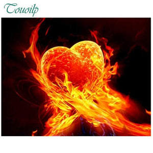 5D Diamond Painting Heart on Fire Kit