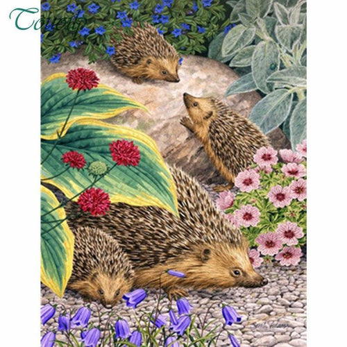 5D Diamond Painting Hedgehog Family Kit