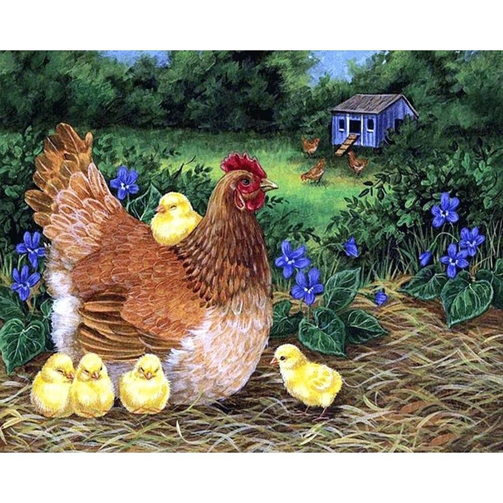 5D Diamond Painting Hen and Five Yellow Chicks Kit