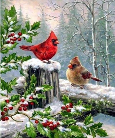5D Diamond Painting Holly and Two Snow Birds Kit