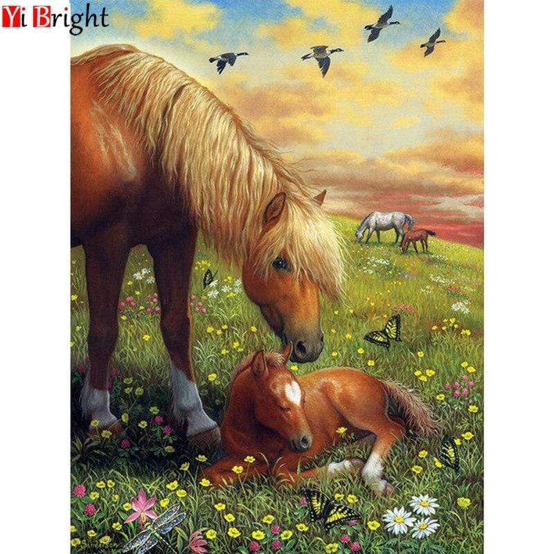 5D Diamond Painting Horse and Foal in the Meadow Kit
