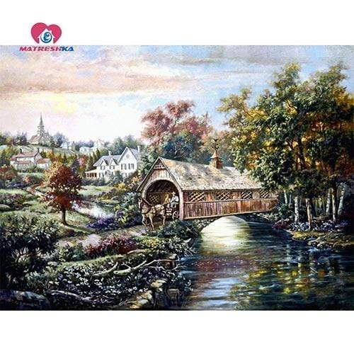5D Diamond Painting Horse Drawn Wagon Covered Bridge Kit