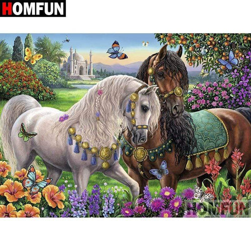 5D Diamond Painting Horses and Butterflies Kit