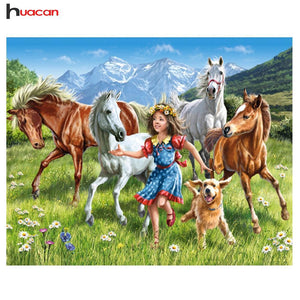 5D Diamond Painting Horses and Girl Kit